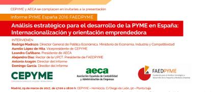 Invitación: Presentación del Informe PYME España 2016 FAEDPYME