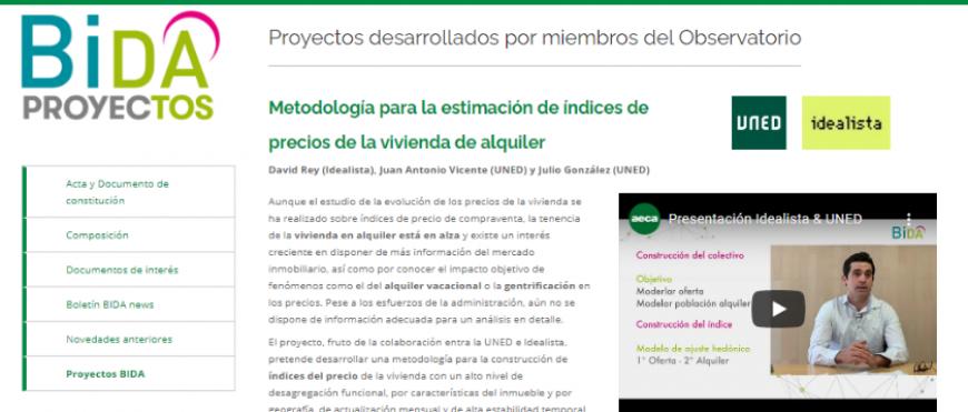 Idealista y UNED presentan su proyecto de investigación en el nuevo espacio del Observatorio BIDA