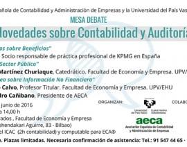 """MESA DEBATE """"Novedades sobre Contabilidad y Auditoría"""" (2/06/2016)"""